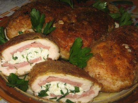 Рецепт Куриные кармашки с творогом и зеленью