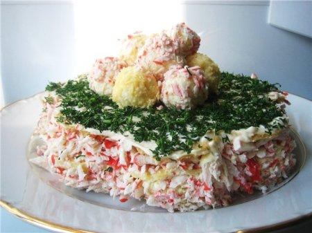 """Рецепт Закусочный торт """"Крабовый рай"""""""