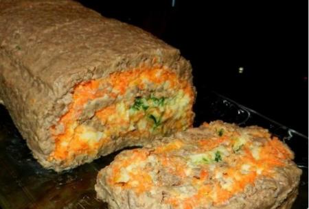 Печёночный рулет с корейской морковкой