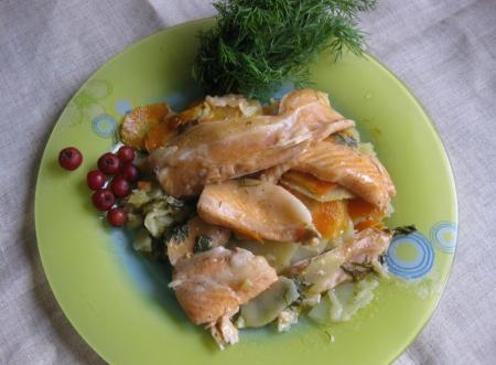 Рецепт Рыба с овощами, запеченные в «рукаве» в мультиварке