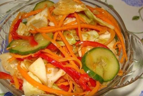 Салат капуста перец морковь огурец рецепт с фото