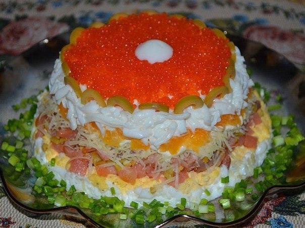 рецепты салата слоеного с семгой и икрой