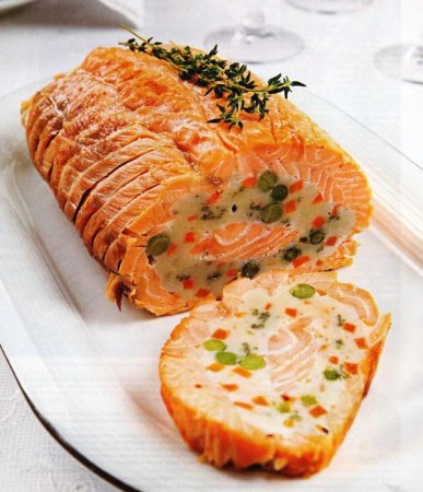 Рецепт Праздничный рулет из лосося