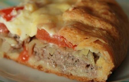 Рецепт Пирог на картофельном тесте с мясной начинкой