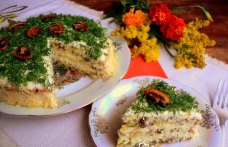Рецепт Закусочный бисквитный грибной торт
