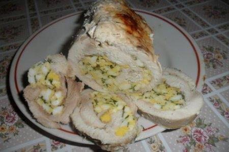 Рецепт Куриный рулет с яйцами и зеленью