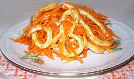 Рецепт Салат из кальмаров и корейской морковью
