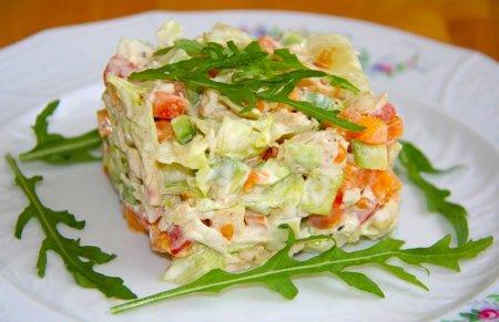 Рецепт Салатик с курицей, авокадо, помидорами и перцем
