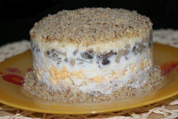 Салат с грибами курицей и орехами рецепт пошагово в 71