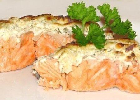 Рецепт Запеченная рыба в шубе из омлета