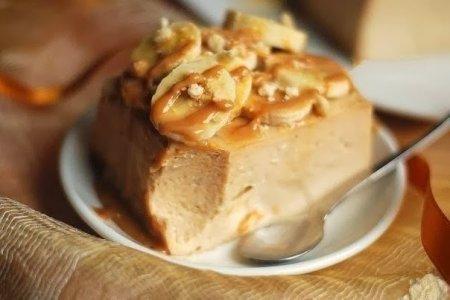 Рецепт Банановый чизкейк-запеканка без основы с творогом