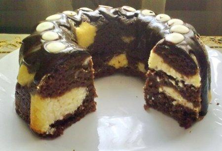 Рецепт Кекс шоколадный с творожными шариками