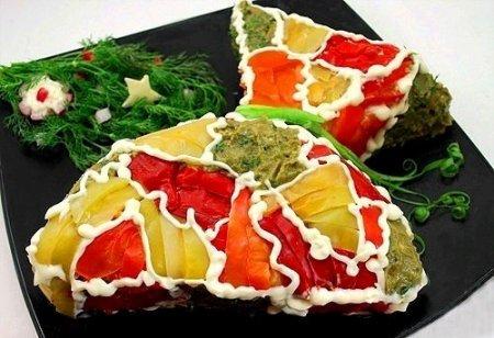 """Рецепт Закусочный торт из слоеного теста """"Мешочек счастья"""""""