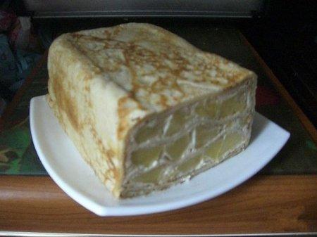 Рецепт Блинный пирог с сметанно-яблочной начинкой