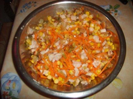 Рецепт Салат из консервированных шампиньонов
