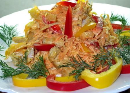 Рецепт Салат с курицей, перцем и морковью