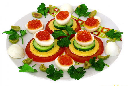 Рецепт Перепелиные яйца фаршированные с икрой