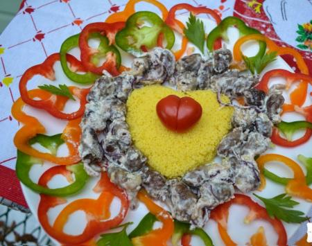 Рецепт Романтический кус-кус, с тыквенным маслом, куриными сердечками в сливочном соусе