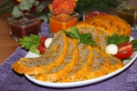 Рецепт Закусочный тыквенный рулет с мясным фаршем