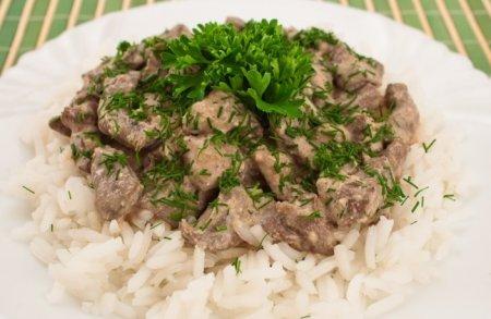Рецепт Печень по-строгановски