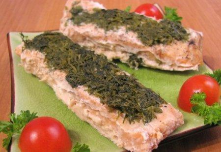 Рецепт Горбуша, жаренная с зеленью в фольге