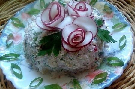 Рецепт Салат с творогом и редисом
