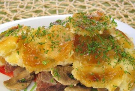 Рецепт Говядина, запеченная с картофелем и грибами