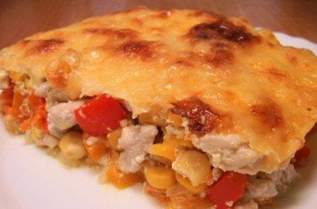 Рецепт Запеканка с рисом, куриным филе, кукурузой и овощами