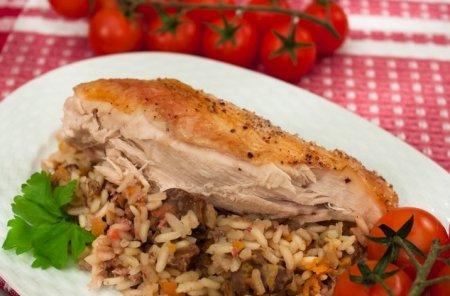 Рецепт Курица, фаршированная печенью с рисом