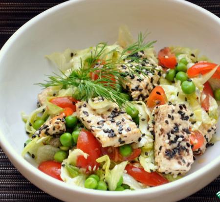Рецепт Легкий овощной салат с тофу