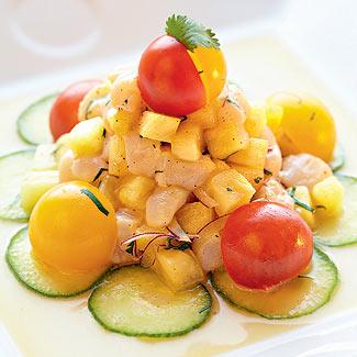 Севиче из ананаса с морским гребешком
