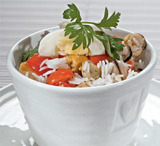 Рецепт Салат из мидий с рисом