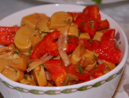 Рецепт Салат из помидоров и консервированных шампиньонов