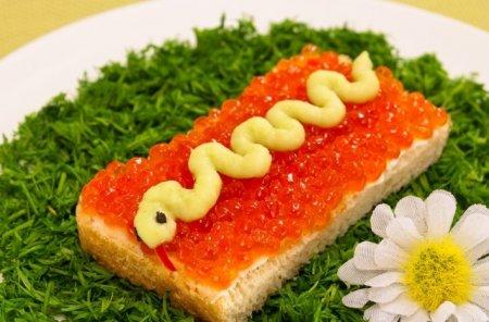 Рецепт Бутерброды «Змейка»
