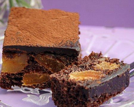 Рецепт Пирожные с курагой, ореxами и шоколадом