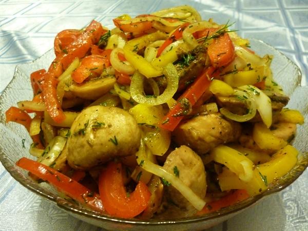 Как сделать овощи с грибами