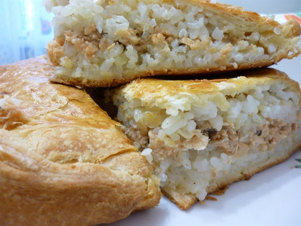 пирог с рисом и яйцом в духовке рецепт