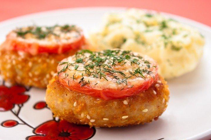 катлета в вафле с сыром помидорами рецепты