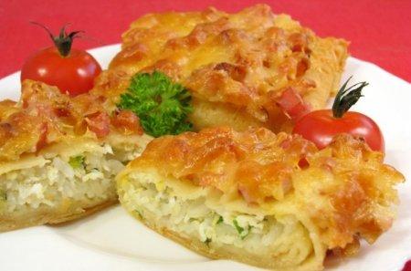 Рецепт Фаршированные блины, запеченные с ветчиной и сыром
