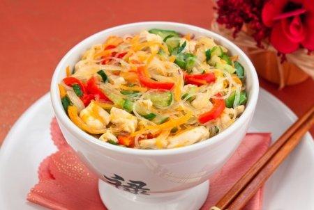 Рецепт Фунчоза с овощами и куриным филе