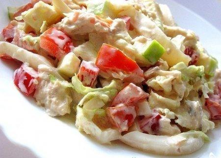 Рецепт Салат с пекинской капустой, курицей и кальмарами
