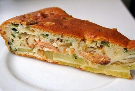 Рецепт Рыбный заливной пирог с картошкой