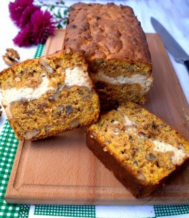 Рецепт Пряный тыквенный кекс с творожной прослойкой