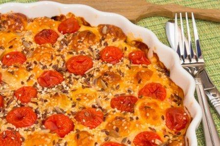 Рецепт Пирог с окороком, помидорами и сыром