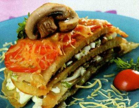 Рецепт Закусочный торт из блинов с грибами