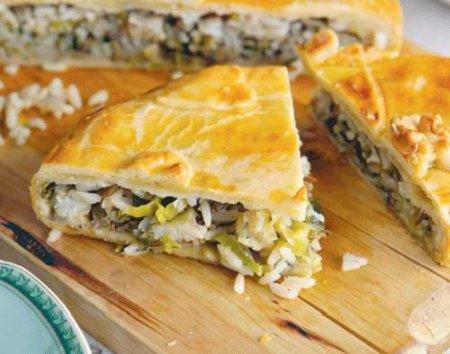 Рецепт Пирог с судаком, рисом и зеленью