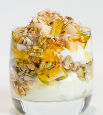 Рецепт Десерт из творога с грушами, семечками и медом
