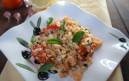 Рецепт Цветная капуста с чесночными креветками