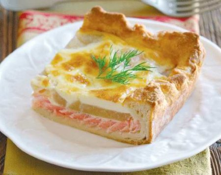 Рецепт Пирог с копченым лососем и грушами