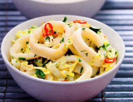 Рецепт Кальмары с пекинской капустой